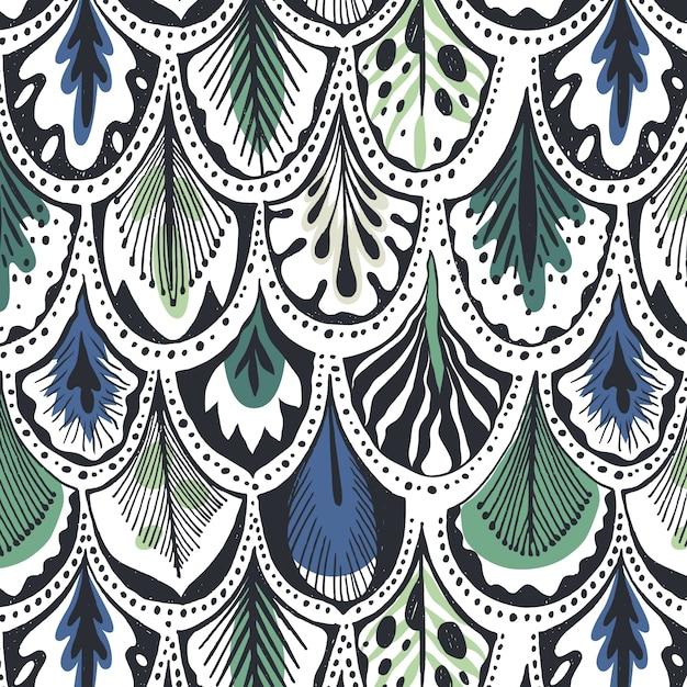 青と緑の羽のパターン 無料ベクター