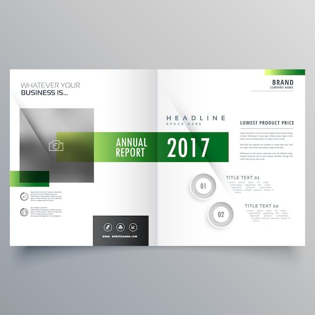 エレガントな緑の二つ折りのパンフレットまたはマガジンカバーページデザインテンプレート 無料ベクター