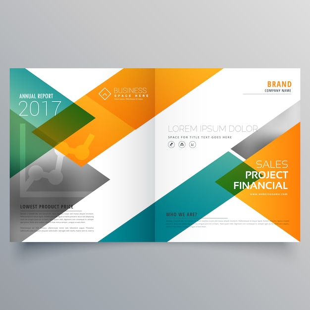 クリエイティブなビジネス二つ折りパンフレットデザインテンプレート 無料ベクター
