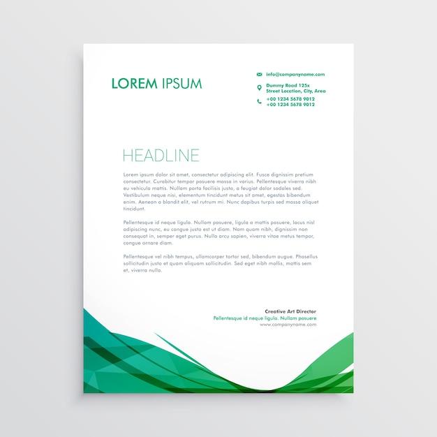 緑色の波状のレターヘッドベクトルデザインテンプレート 無料ベクター