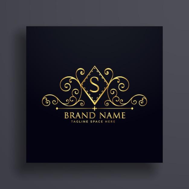 手紙S付きの贅沢なロゴコンセプトデザイン 無料ベクター