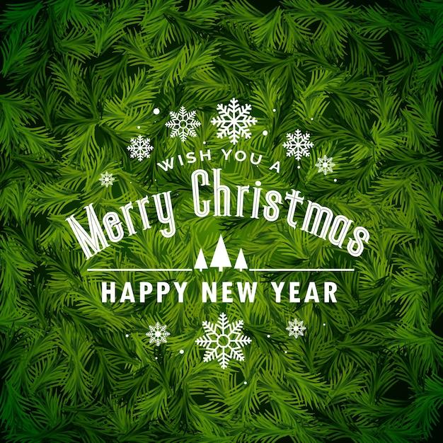 удивительный рождественский фон приветствия, сделанный с еловыми листьями Бесплатные векторы
