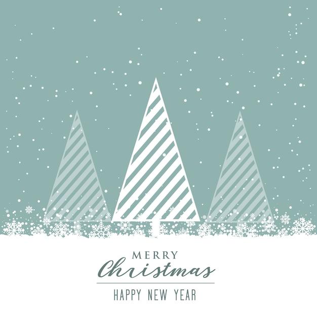 красивый рождественский фон с творческим дизайном дерева Бесплатные векторы