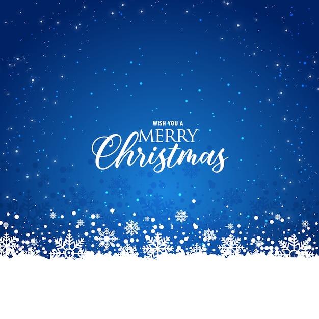 エレガントなクリスマスの青い背景と雪片 無料ベクター