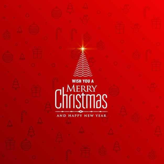 創造的な木のデザインとエレガントな赤いクリスマスの背景 無料ベクター