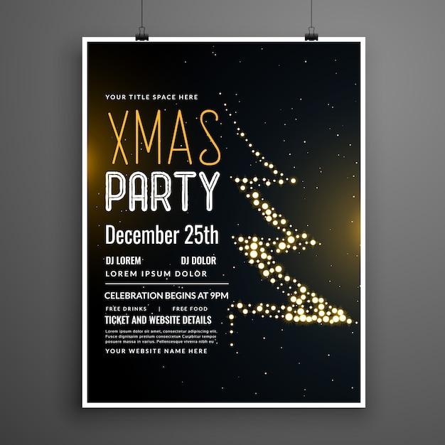 クリエイティブなクリスマスパーティーポスターデザイン、黒色 無料ベクター