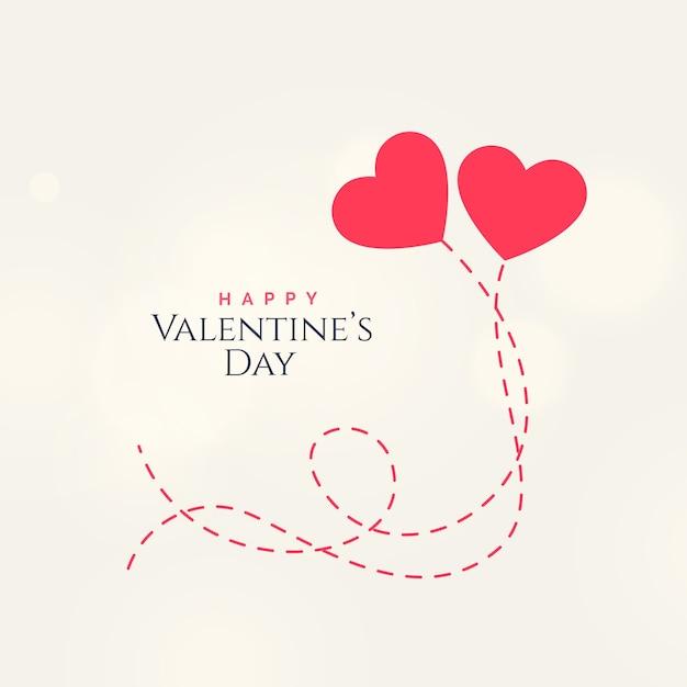2枚のフローティングハートを持つ甘いバレンタインデーカードデザイン 無料ベクター