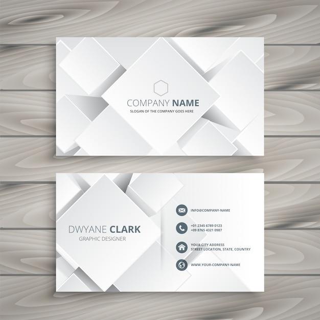 элегантная белая визитная карточка с 3d-фигурами Бесплатные векторы