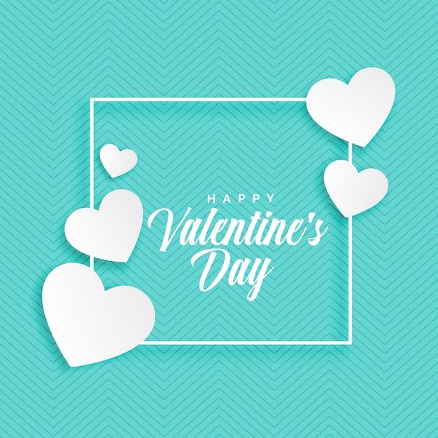 バレンタインデーの白い心の青い背景 無料ベクター