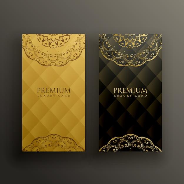 スタイリッシュなマンダラプレミアムゴールドカードデザイン 無料ベクター