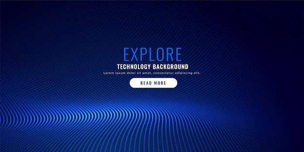 青い粒子メッシュの背景デザイン 無料ベクター