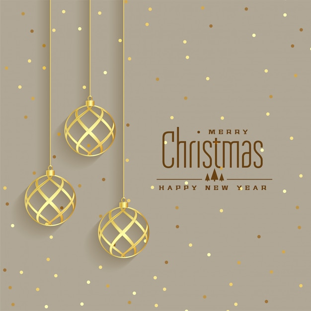 エレガントな黄金のクリスマスボールプレミアム背景 無料ベクター