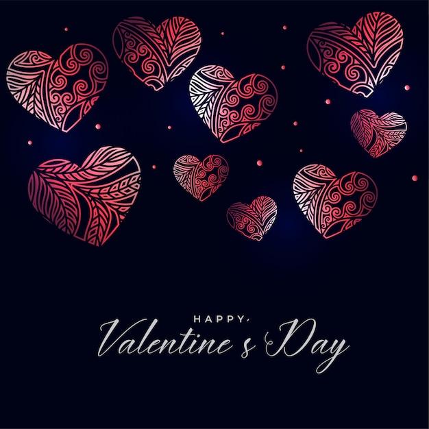 装飾的な花の心と暗いバレンタインデーの背景 無料ベクター