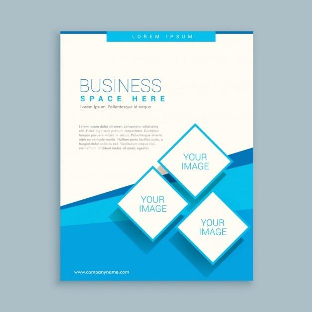 青、白色の抽象的なビジネスパンフレットのデザイン 無料ベクター