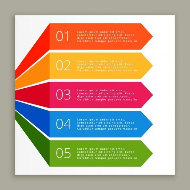 色インフォグラフィック手順バナー 無料ベクター