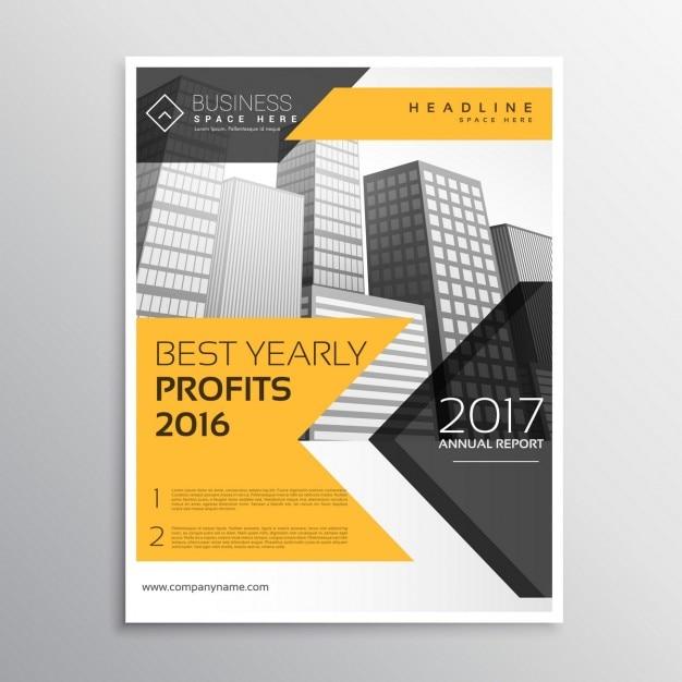 黄色の年次報告書、パンフレットテンプレートリーフレットプレゼンテーション 無料ベクター