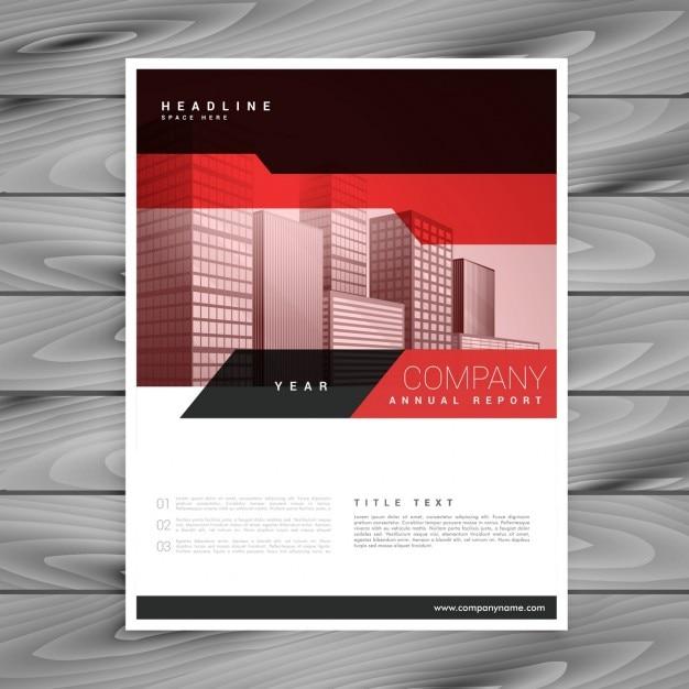 ビジネスプレゼンテーションのための赤いパンフレットのレイアウトテンプレート 無料ベクター