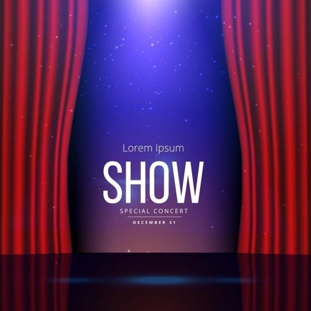 театр сцена с открытыми шторами Бесплатные векторы