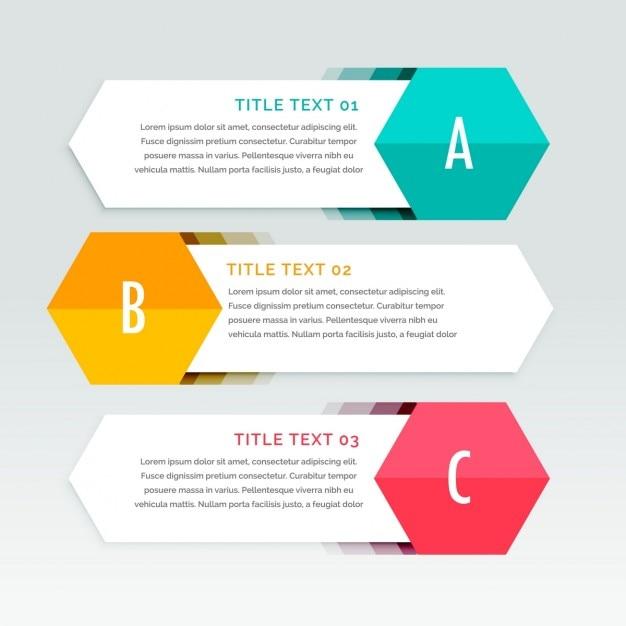 インフォグラフィックのための3つの白い幾何バナー 無料ベクター