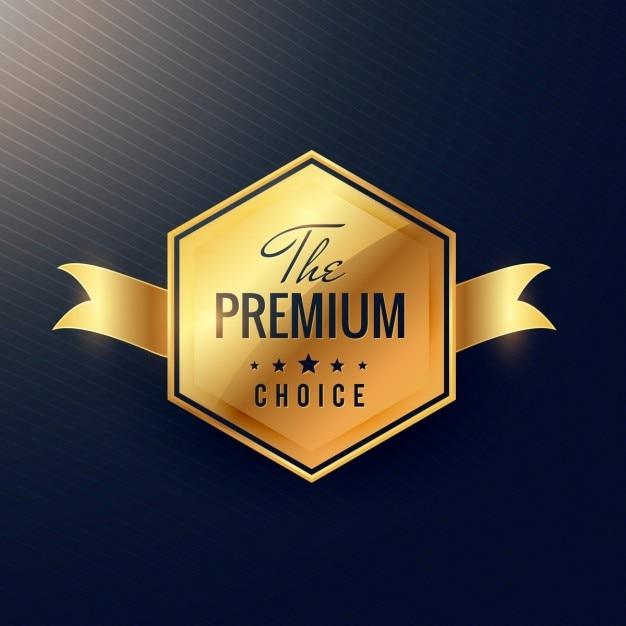 プレミアム製品のための黄金のバッジ ベクター画像 無料ダウンロード