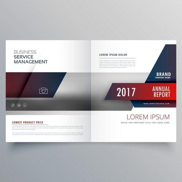 創造的なデザインとビジネス誌二つに折り畳めるパンフレットテンプレート 無料ベクター