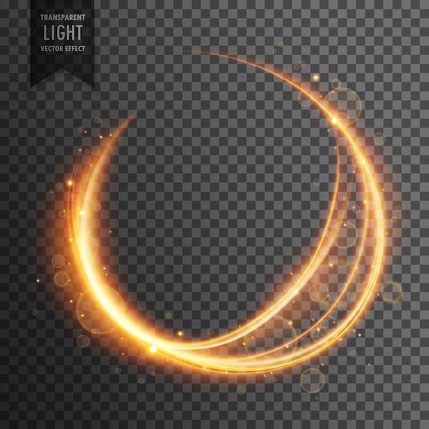 円形の金色のレンズは、透明な光の効果輝く背景をフレア 無料ベクター