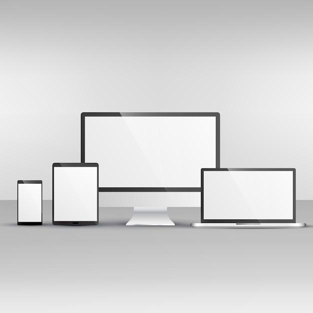 コンピュータラップトップ、スマートフォンやタブレットなどのデバイスのモックアップ 無料ベクター