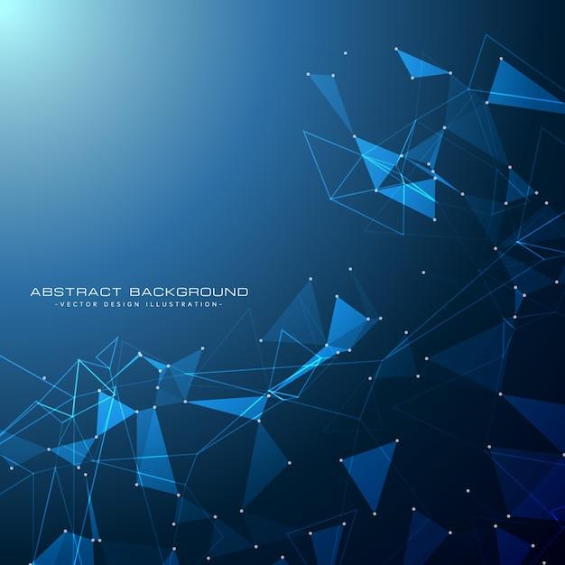 三角形の形状を有する青色の技術デジタル背景 無料ベクター