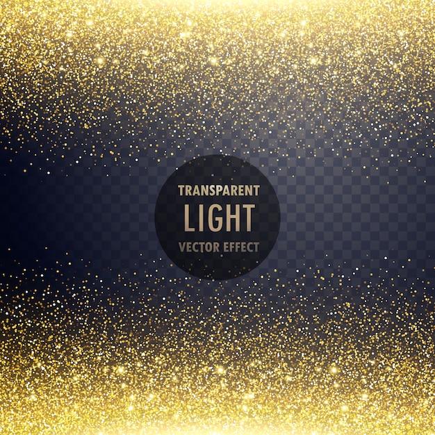 透明な金色の光り輝く光の効果の背景 無料ベクター