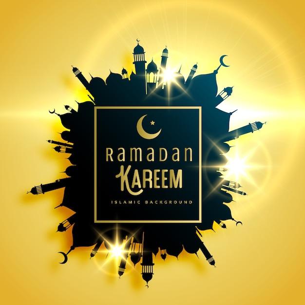 モスクで作られたフレーム付きの美しいラマダンカリームグリーティングカードデザイン 無料ベクター