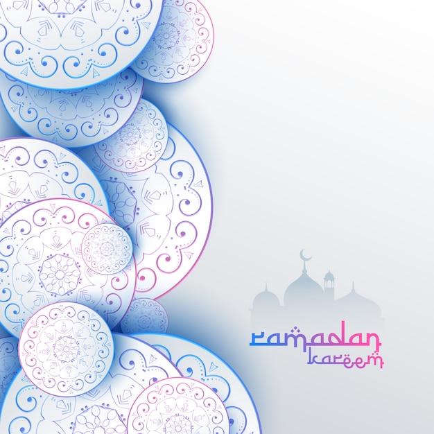 イスラムのラマダンカレムフェスティバルグリーティングカードデザイン 無料ベクター