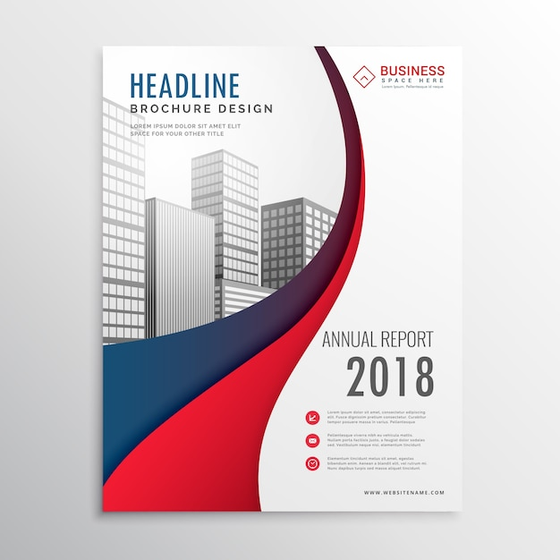 現代の赤と青の波のビジネスパンフレットのテンプレートデザイン 無料ベクター