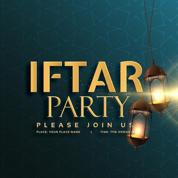 iftarパーティー招待状のデザインと掛かるランプ 無料ベクター