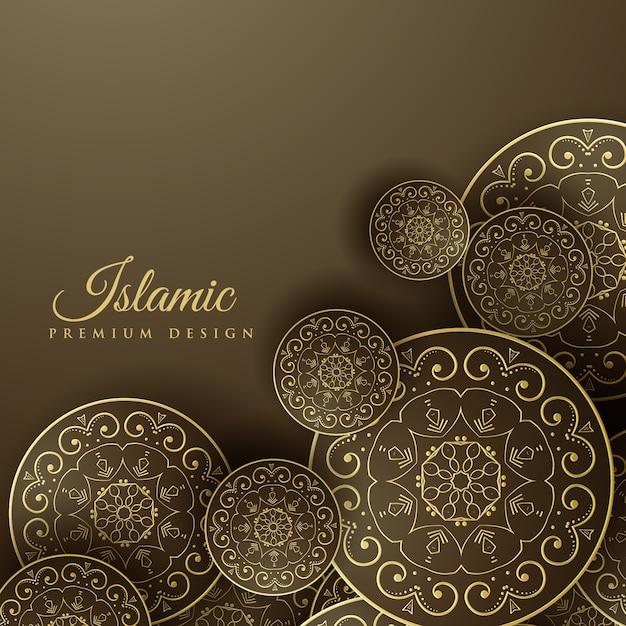 曼荼羅の装飾とイスラムの背景 無料ベクター