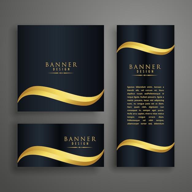 プレミアムクリーンバナーまたはゴールデンウェーブのカードデザイン 無料ベクター