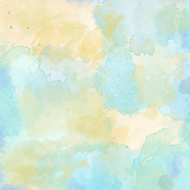 美しい手は、水彩の背景を描いた 無料ベクター