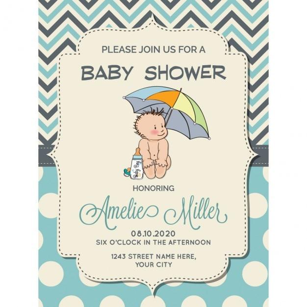 傘の下に小さな赤ちゃんの美しい男の子シャワーカード 無料ベクター