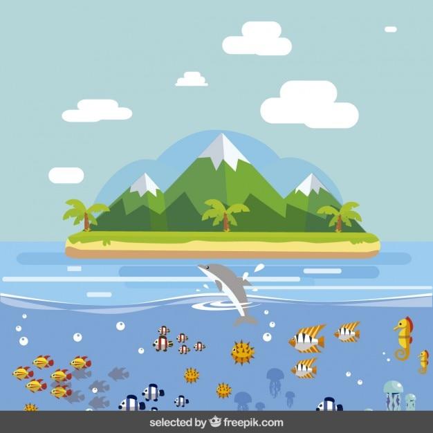 フラットなデザインの島の風景 ...