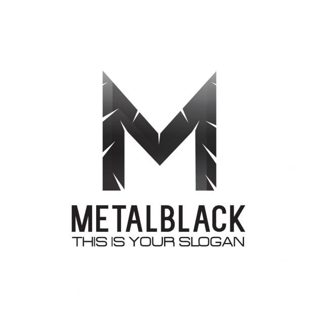 ブラックメタリックレターMロゴ 無料ベクター