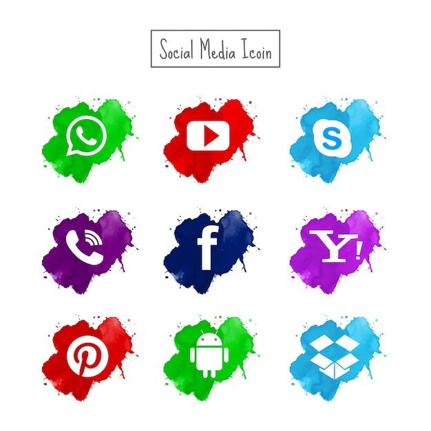 現代の水彩ソーシャルメディアのアイコンが設定されています 無料ベクター