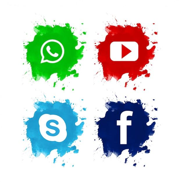 美しいソーシャルメディアのアイコンセットのデザイン 無料ベクター