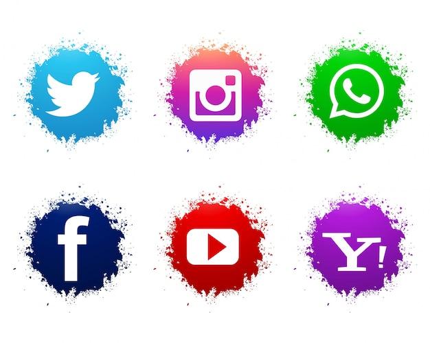 抽象的な水彩ソーシャルメディアのアイコンが設定されて 無料ベクター