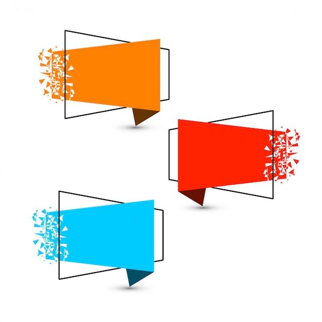 Красивый сломанный современный дизайн коллекции баннеров Бесплатные векторы