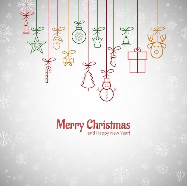 Красивая счастливая рождественская открытка со снежинками фон Бесплатные векторы