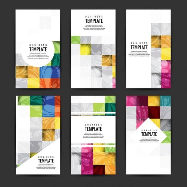 設定カラフルなビジネスのパンフレット 無料ベクター