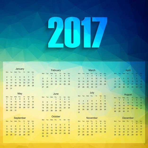 カラフルな2017年カレンダー 無料ベクター