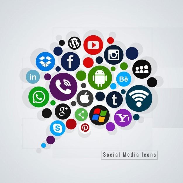 ソーシャルメディアのアイコンの背景 無料ベクター