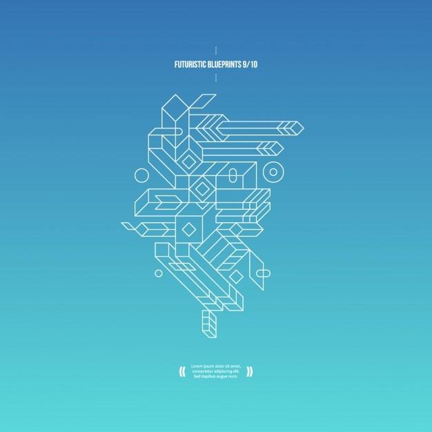 青のグラデーションと3D組成を持つ抽象的な背景 無料ベクター