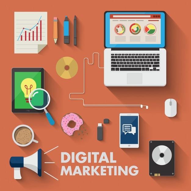 デジタルマーケティングのためのさまざまなデバイス 無料ベクター