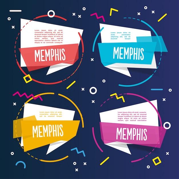 Четыре красочных шаблона memphis Бесплатные векторы